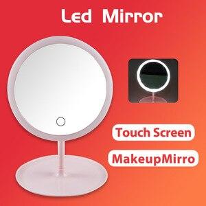 帶燈化妝鏡Led鏡子觸摸屏開關USB可充電鏡子,用於檯面化妝品化妝