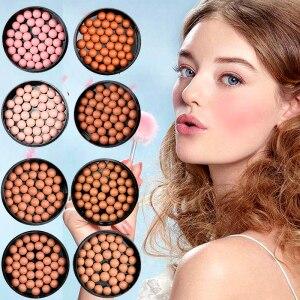 化妝臉部啞光腮紅球3合1腮紅眼影輪廓化妝品粉末球腮紅化妝完全專業化妝D43