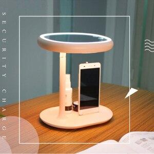 帶led燈的化妝鏡led化妝鏡化妝梳妝檯燈補光鏡180度旋轉鏡帶電話架