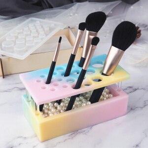 化妝刷插入模具DIY化妝刷非接觸鏡矽膠模具手工化妝盒水晶環氧樹脂模具