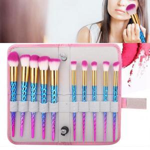 化妝刷套裝專業10件裝多彩化妝刷套裝眼影粉底腮紅刷,帶收納袋化妝