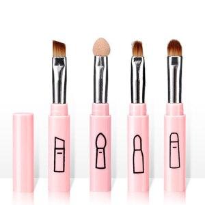 化妝刷粉紅色四件套迷你大小的化妝刷和便攜式化妝刷組