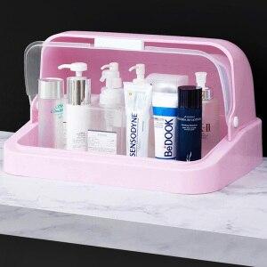 化妝品收納盒透明帶蓋台式護膚品化妝品架化妝品收納盒化妝品整理盒美容盒
