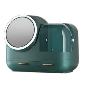 化妝收納盒化妝品收納盒,帶鏡子和風扇,化妝收納盒LED化妝鏡