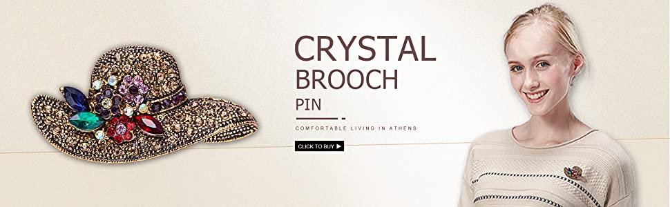 Crystal brooch pin